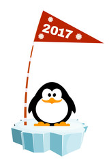 Vector illustration of a little penguin on the ice with a flag.