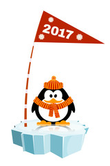 Vector illustration of a little penguin wearing a hat  and a sca
