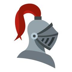 Medieval knight helmet icon. Flat illustration of helmet vector icon for web design