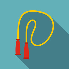 Yellow skipping rope icon. Flat illustration of skipping rope vector icon for web