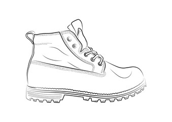 Sketch of a male shoe on white background.Vector illustration.