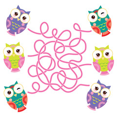 set bright colorful owls on white background. labyrinth game for Preschool Children. Vector