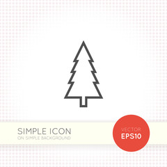 Spruce, christmas tree icon in a minimalistic flat design