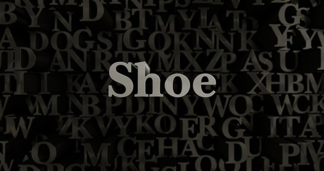 Shoe - 3D rendered metallic typeset headline illustration.  Can be used for an online banner ad or a print postcard.