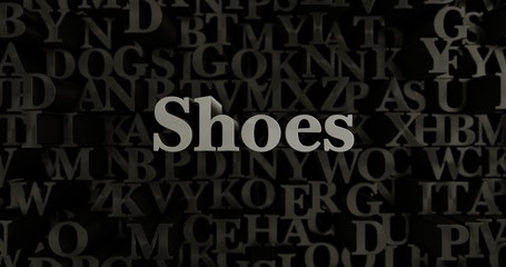 Shoes - 3D rendered metallic typeset headline illustration.  Can be used for an online banner ad or a print postcard.