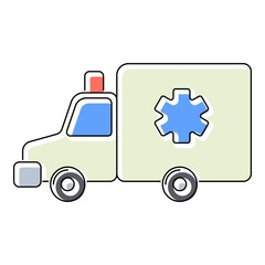Ambulance icon. Flat illustration of ambulance vector icon for web isolated on white background