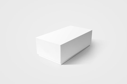 Plain white carton product box mockup, side view, clipping path. Clear blank rectangular cardboard phone case mock up. Simple closed shoe package template isolated. Smartphone store product pack.