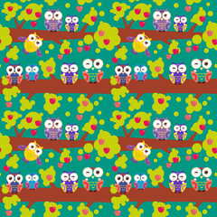 seamless pattern set bright colorful owls on the branch of a tree with red apples on dark green background. Vector