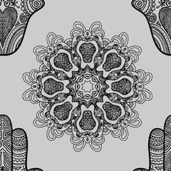 Seamless pattern with indian hand drawn hamsa and mandala.