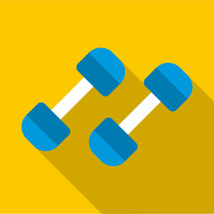 Blue dumbbells icon. Flat illustration of blue dumbbells vector icon for web