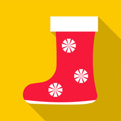 Red felt boots icon. Flat illustration of red felt boots vector icon for web