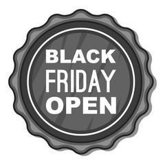Label black friday open icon. Gray monochrome illustration of label black friday open vector icon for web