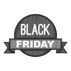 Label black friday icon. Gray monochrome illustration of label black friday vector icon for web