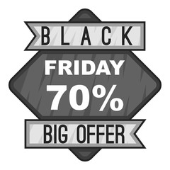 Label black friday seventy percent big offer icon. Gray monochrome illustration of label black friday seventy percent big offer vector icon for web