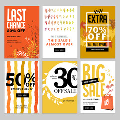 Social media sale banners, and ads web template set. Vector illustrations of season online shopping website and mobile website banners, posters, email and newsletter designs, ads, coupons.