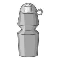 Cycling water bottle icon. Gray monochrome illustration of cycling water bottle vector icon for web