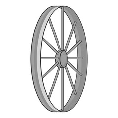 Bicycle wheel icon. Gray monochrome illustration of bicycle wheel vector icon for web