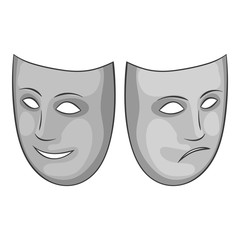 Happy and sad mask icon. Gray monochrome illustration of happy and sad mask vector icon for web