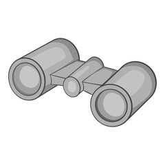 Binoculars icon. Gray monochrome illustration of binoculars vector icon for web