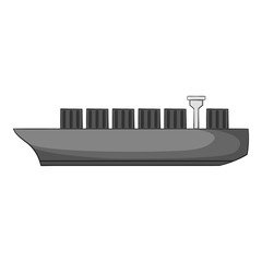 Cargo ship icon. Gray monochrome illustration of cargo ship vector icon for web