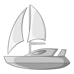 Speed boat with sail icon. Gray monochrome illustration of speed boat with sail vector icon for web