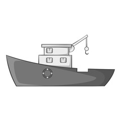 Ship for catching fish icon. Gray monochrome illustration of ship for catching fish vector icon for web