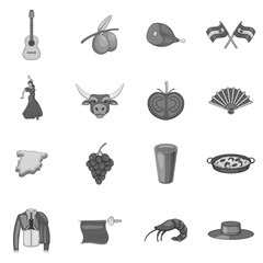 Spain icons set. Gray monochrome illustration of 16 Spain vector icons for web
