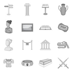 Museum icons set. Gray monochrome illustration of 16 museum vector icons for web
