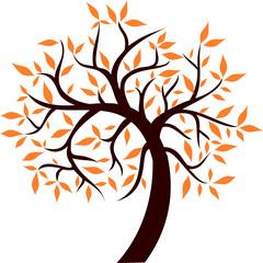 Árbol marrón con hojas naranja