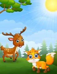Mouse deer and baby fox cartoon in the jungle