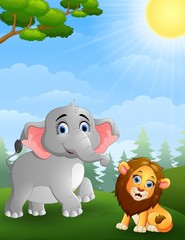 Elephant and  lion cartoon in the jungle