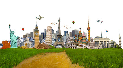 Famous monuments of the world surrounding green grass