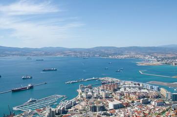 Overall view of Gibraltar city, Gibraltar Bay or Bay of Algeciras.