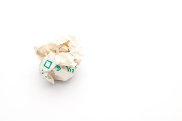 close-up of crumpled paper ball, Wadded paper