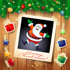 Christmas background with photo of happy Santa Claus