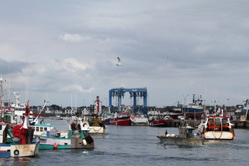 chalutiers dans le port du Guilvinec,Bretagne