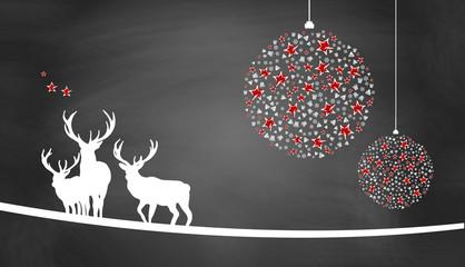 Weihnachtsmotiv mit Weihnachtsschmuck, Sternen und Hirschen auf Schiefertafel