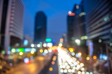 Thailand,Bangkok highway with building and defocused bokeh light