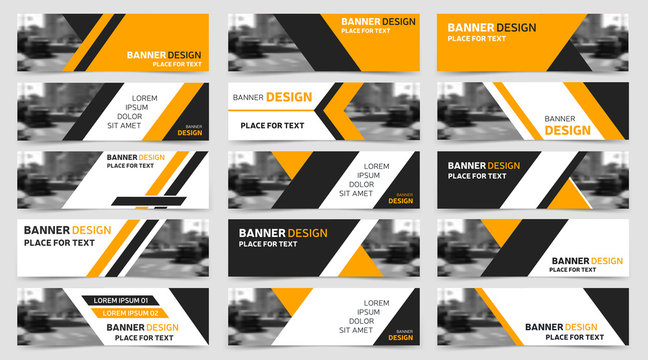 Big set of horizontal business banner templates. Modern technology design