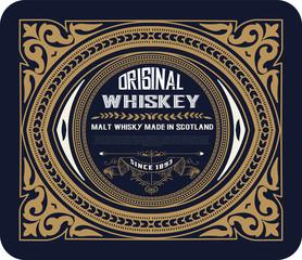 Old frame label design for Whiskey and Wine label, Restaurant, B