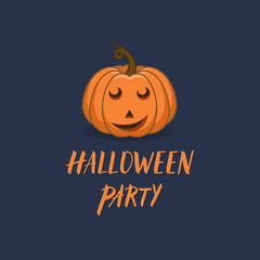 Halloween pumpkin with carved happy face vector illustration