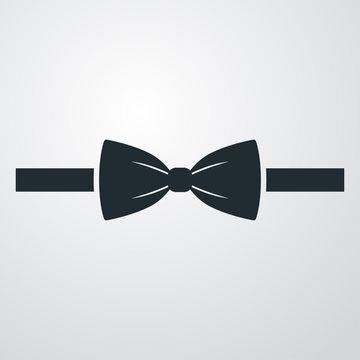 Icono plano corbata de lazo sobre fondo degradado