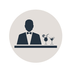 Icono plano silueta barman en circulo gris