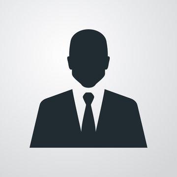 Icono plano silueta hombre con traje sobre fondo degradado