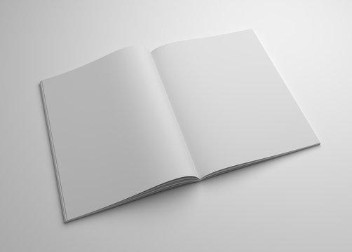 Blank 3D illustration opened magazine mock-up
