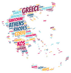 Greece top travel destinations word cloud