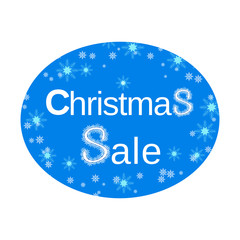 Christmas Sale Label. Business seasonal shopping concept. New year snowflake symbol in blue white color. Template for winter hot deal tag sticker background, special offer banner. Vector illustration