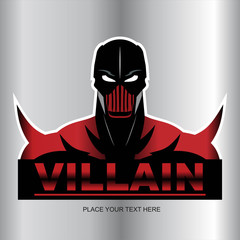 Great Red Villain isolated on metallic background