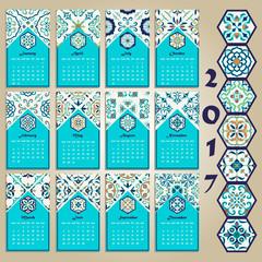 Vector calendar 2017. Portuguese, Azulejo, Moroccan; Spanish; Arabic; asian ornaments