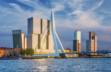 Fototapete - Rotterdam Skyline at Sunset, The Netherlands